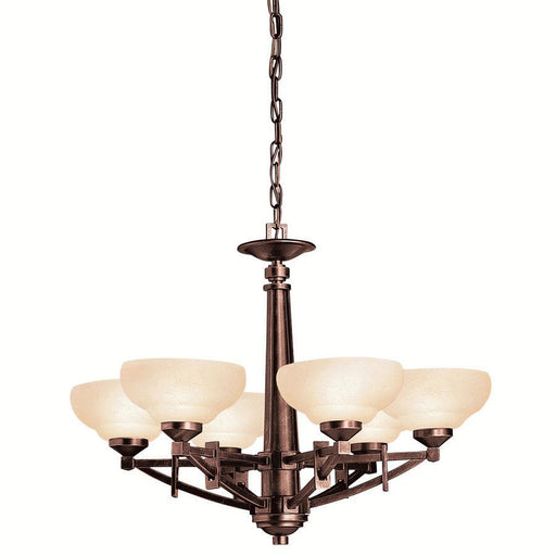 Aztec 34948 by Kichler Lighting Columbiana Collection Six Light Hanging Chandelier in Olde Auburn Finish