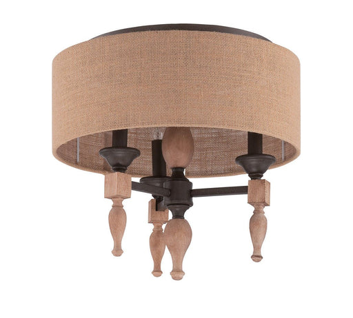 Craftmade Lighting 38183 JBZDO Glenwood Collection Three Light Flush Ceiling in Light Aged Bronze and Distressed Oak Finish
