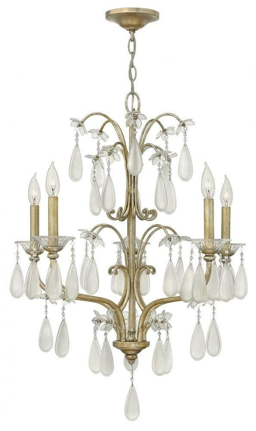 Hinkley Lighting Fredrick Ramond FR40315 SLF Francesca Collection Five Light Hanging Chandelier in Silver Leaf Finish - Quality Discount Lighting