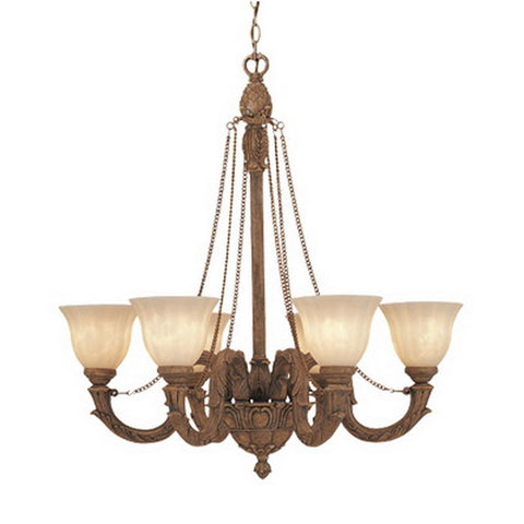 Designers Fountain Lighting 4976 RG Raphael Collection 6 Light Chandelier in Renaissance Gold Finish - Quality Discount Lighting