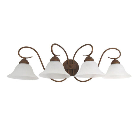 Aztec Lighting 93023 Four Light Bath Vanity Wall Mount in Rosario Gold Finish
