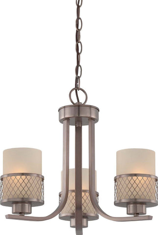 Nuvo Lighting 60-4787 Fusion Collection Three Light Hanging Chandelier in Hazel Bronze Finish - Quality Discount Lighting