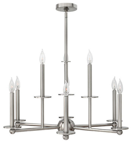 Hinkley Lighting 3748 BN Piedmont Collection Nine Light Hanging Chandelier in Brushed Nickel Finish