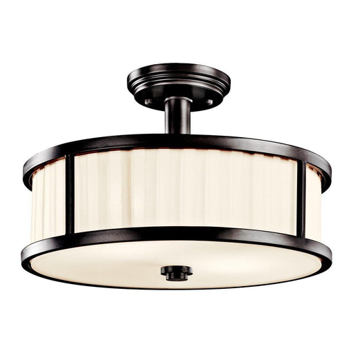 Aztec 38901 by Kichler Lighting Camargo Collection Two Light Semi Flush Ceiling Mount in Olde Bronze Finish - Quality Discount Lighting