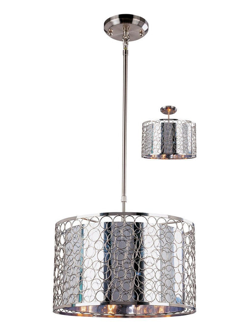 Z-Lite Lighting 158-15 Saatchi Collection Three Light Hanging Pendant or Semi Flush Ceiling Mount in Brushed Nickel Finish