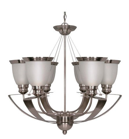 Nuvo Lighting 60-500 Palladium Collection Six Light Energy Efficient GU24 Fluorescent Chandelier in Smoked Nickel Finish - Quality Discount Lighting