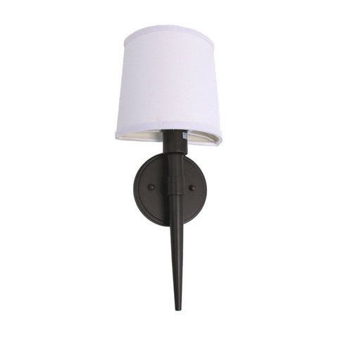 Epiphany Lighting ESWS450 ORB Energy Efficient Fluorescent Wall Sconce in Oil Rubbed Bronze Finish and White Cloth Shade - Discount Lighting Fixtures