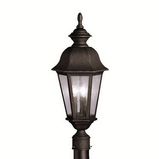 Aztec 39915 By Kichler Lighting Cadiz Collection Three Light Outdoor Post Top Lantern in Distressed Black Finish - Quality Discount Lighting