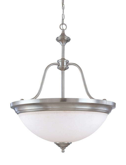 Nuvo Lighting 60-2561 Glenwood Collection Four Light Energy Star Rated Fluorescent Hanging Pendant Chandelier in Brushed Nickel Finish - Quality Discount Lighting