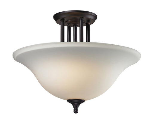 Z-Lite Lighting 2112-SF Athena Collection Three Light Semi Flush Ceiling Mount in Bronze Finish with Matte Opal Glass