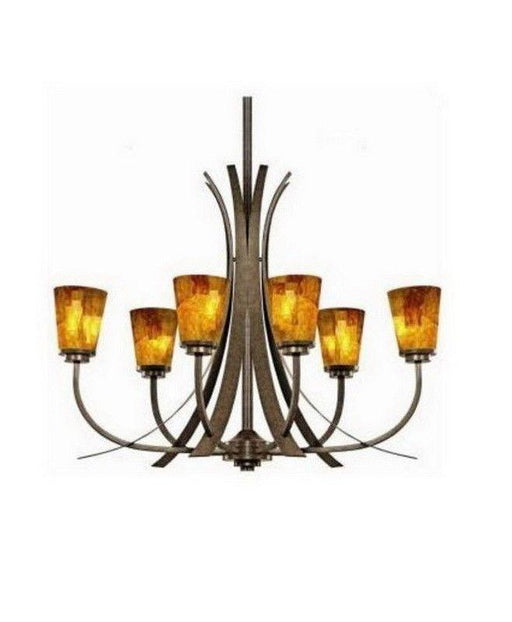Kichler Lighting S139972 OI Shell Collection Eight Light Chandelier in Olde Iron Finish