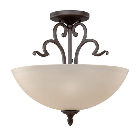 Sunset Lighting F13062-47 Abney Collection Two Light Semi Flush Ceiling Fixture in Rustico Bronze Finish - Quality Discount Lighting