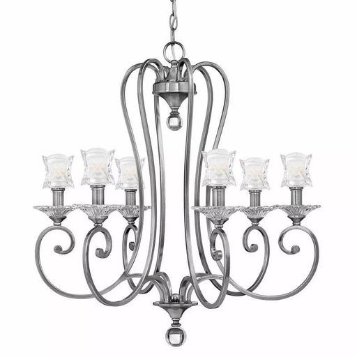 Hinkley Lighting 4756PL Six Light Hanging Chandelier in Antique Polished Nickel Finish