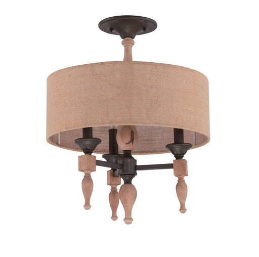 Craftmade Lighting 38153 JBZDO Glenwood Collection Three Light Convertible Semi Flush Ceiling or Hanging Pendant Chandelier in Light Aged Bronze and Distressed Oak Finish