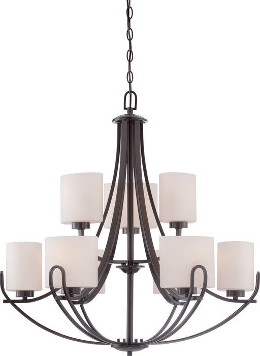 Nuvo Lighting 60-5399 Lola Collection Nine Light Hanging Chandelier in Georgetown Bronze Finish