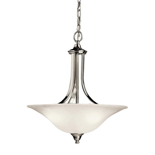 Kichler Lighting 10702NIFL Dover Collection One Light Energy Efficient Pendant Chandelier in Brushed Nickel Finish