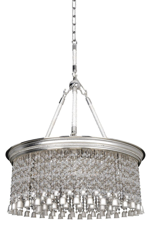 Kalco Lighting 026652-017-FR0010 Clare Collection Six Light Hanging Pendant Chandelier in Two Tone Silver Finish
