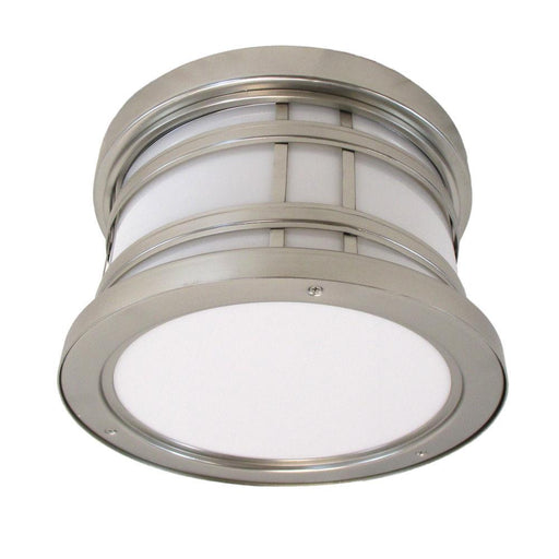Oxygen Lighting 2-703-224 Stratford Collection Two Light Energy Efficient Fluorescent Outdoor Exterior Ceiling Mount in Satin Nickel Finish