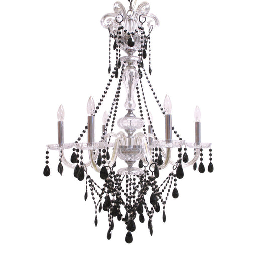 Trans Globe Lighting EL6-CL/BK Six Light Chandelier in Black and Clear Finish