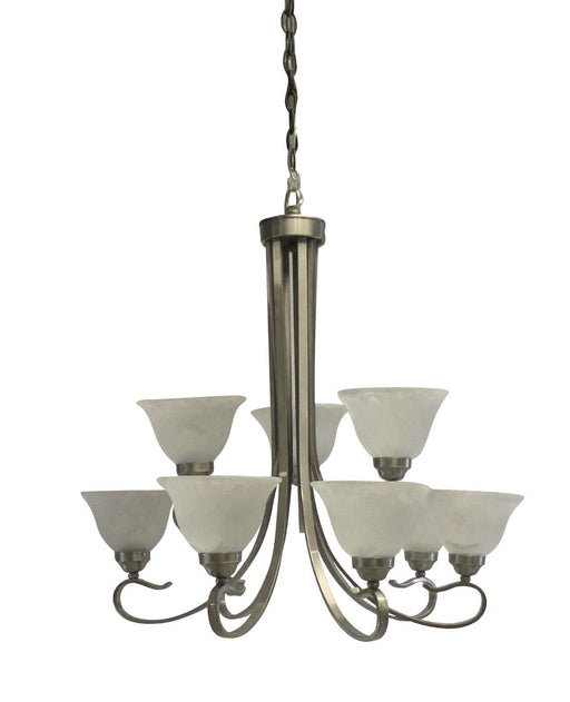 Rainbow EVER 2309 BN Nine Light Hanging Chandelier in Brushed Nickel Finish