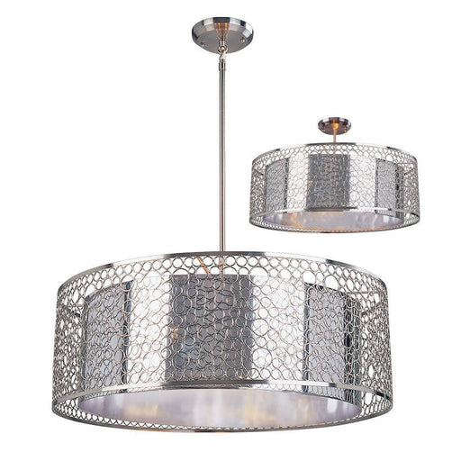 Z-Lite Lighting 185-26 Saatchi Collection Eight Light Large Pendant or Semi Flush Ceiling Mount in Chrome Finish