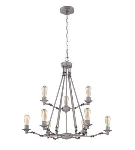 Craftmade Lighting 37829 AGV Hadley Collection Nine Light Hanging Chandelier in Aged Galvanized Finish