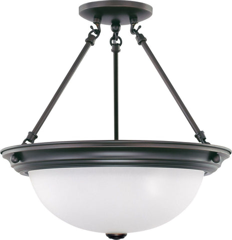 Nuvo Lighting 60-3339 Signature Collection Two Light Energy Star Efficient GU24 Semi Flush Ceiling Mount in Mahogany Bronze Finish