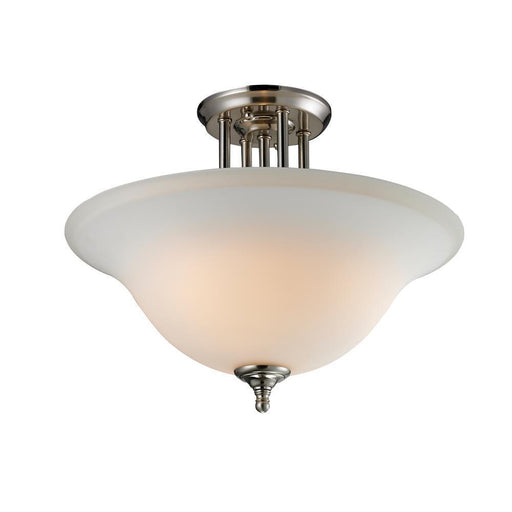 Z-Lite Lighting 2109-SF Athena Collection Three Light Semi Flush Ceiling Mount in Brushed Nickel Finish with Matte Opal Glass