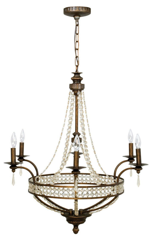 Craftmade Lighting 5532PR6 Cortana Collection Six Light Pendant Chandelier in Peruvian Bronze Finish