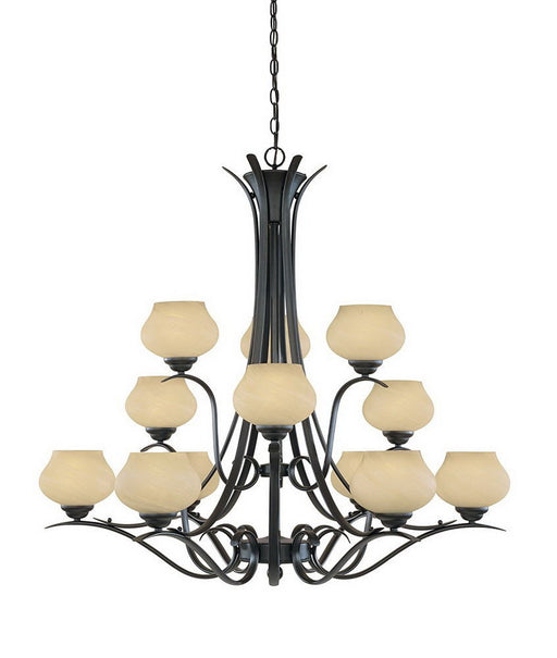 Designers Fountain Lighting 820812 BNB Moon Shadow Collection Twelve Light Hanging Chandelier in Burnished Bronze Finish - Quality Discount Lighting