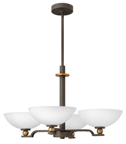 Hinkley Lighting 4684 OZ Cooper Collection Four Light Hanging Chandelier in Oil Rubbed Bronze Finish