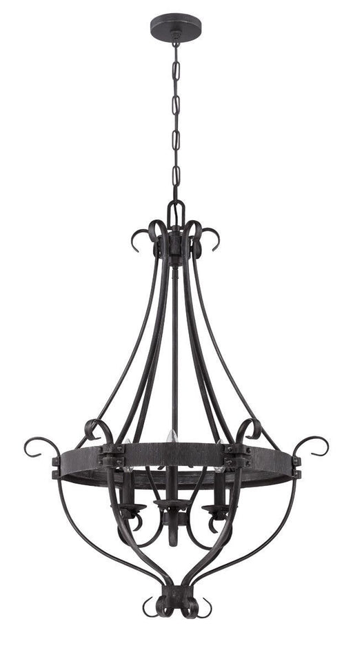 Craftmade Lighting 37943 CHL Ellsworth Collection Three Light Hanging Pendant Chandelier in Charcoal Finish