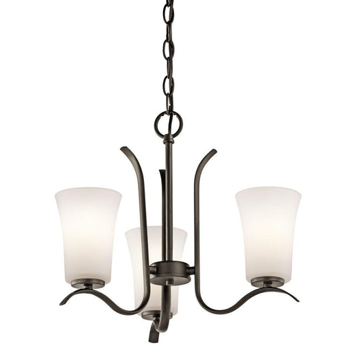 Kichler Lighting 43073OZFL Armida Collection Three Light Energy Efficient Chandelier in Olde Bronze Finish