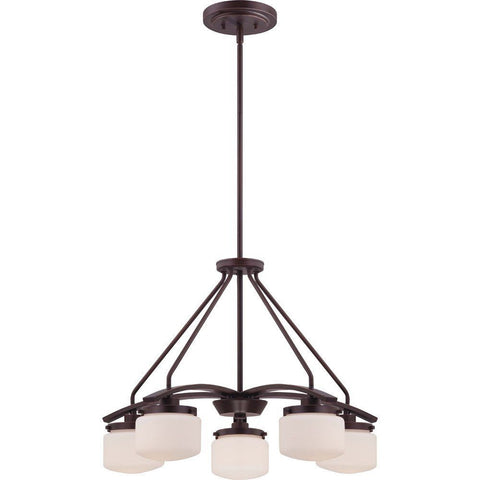 Nuvo Lighting 60-5125 Austin Collection Five Light Hanging Pendant Chandelier in Russet Bronze Finish - Quality Discount Lighting