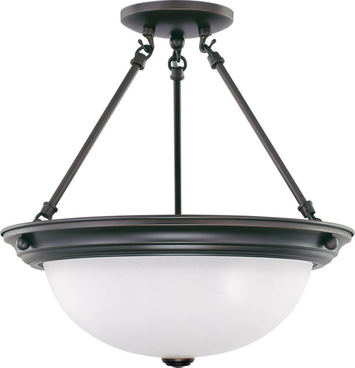 Nuvo Lighting 60-3341 Signature Collection Three Light Energy Star Efficient GU24 Semi Flush Ceiling Mount in Mahogany Bronze Finish