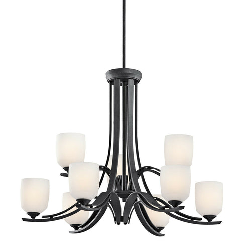 Aztec 34968 by Kichler Lighting Breton Mills Collection Nine Light Hanging Chandelier in Distressed Black Finish