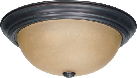 Nuvo Lighting 60-3107 Signature Collection Three Light Energy Star Efficient GU24 Flush Ceiling Mount in Mahogany Bronze Finish