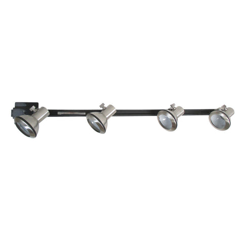 Sunset Lighting Track Head Kit F2953-80-4BK Four Brushed Nickel Heads with Black Track - Quality Discount Lighting