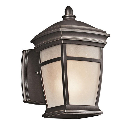 Kichler Lighting 49270RZFL McAdams Collection One Light Energy Saving Exterior Outdoor Wall Mount in Rubbed Bronze Finish