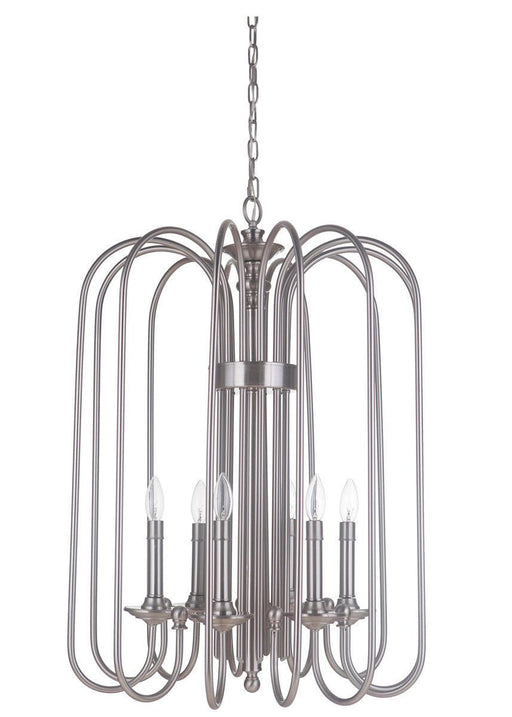 Craftmade Lighting 40736 PLN Avery Collection Six Light Hanging Pendant Chandelier in Polished Nickel Finish