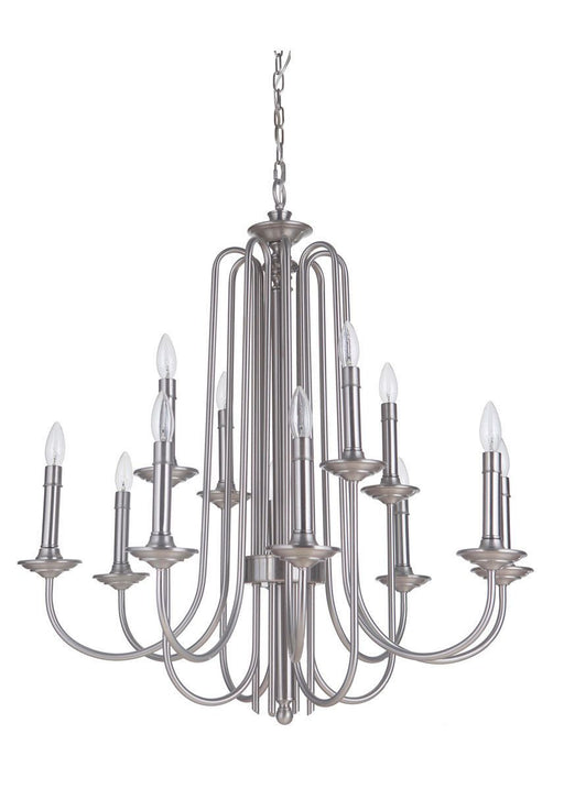 Craftmade Lighting 40712 PLN Avery Collection Twelve Light Hanging Chandelier in Polished Nickel Finish