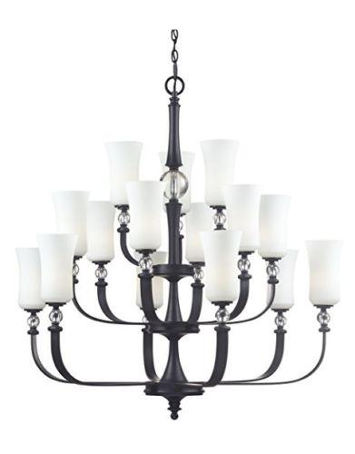 Z-Lite Lighting 604-15 Harmony Collection Fifteen Light Chandelier in Matte Black Finish