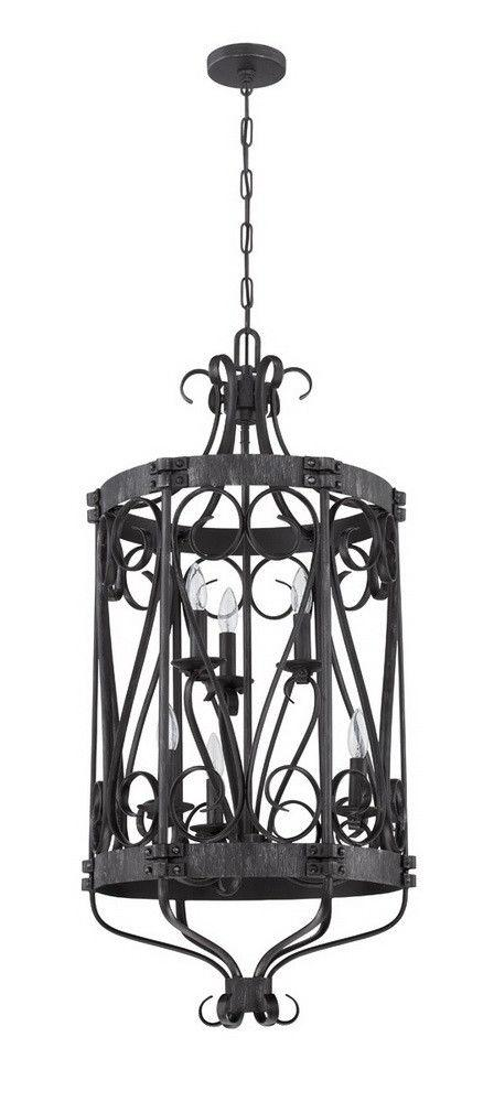 Craftmade Lighting 37936 CHL Ellsworth Collection Six Light Pendant Chandelier in Charcoal Finish