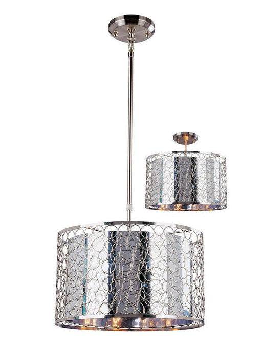 Z-Lite Lighting 185-15 Saatchi Collection Three Light Pendant or Semi Flush Ceiling Mount in Chrome Finish