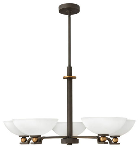 Hinkley Lighting 4685 OZ Cooper Collection Four Light Hanging Chandelier in Oil Rubbed Bronze Finish