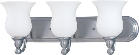 Nuvo Lighting 60-2569 Glenwood Collection Three Light Energy Star Rated GU24 Fluorescent Bath Vanity Wall Mount in Brushed Nickel Finish - Quality Discount Lighting