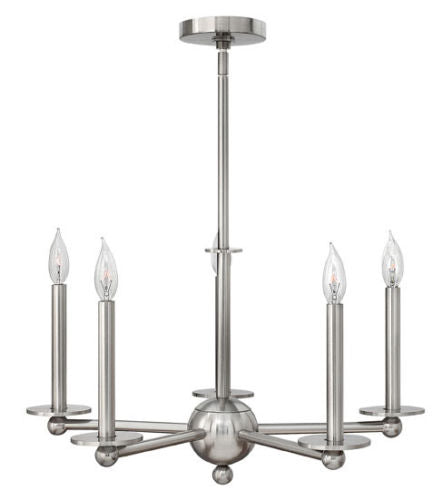 Hinkley Lighting 3745 BN Piedmont Collection Five Light Hanging Chandelier in Brushed Nickel Finish