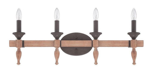 Craftmade Lighting 38104 JBZDO Glenwood Collection Four Light Bath Vanity Wall Mount in Light Aged Bronze and Distressed Oak Finish