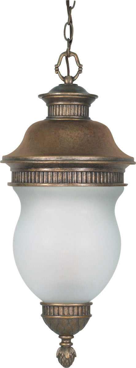 Nuvo Lighting 60-882 Luxor Collection Three Light Exterior Outdoor Hanging Pendant Lantern in Platinum Gold Finish - Quality Discount Lighting