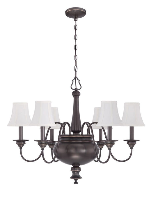 Craftmade Lighting 39626 LB Beaumont Collection Six Light Hanging Chandelier in Legacy Brass Bronze Finish
